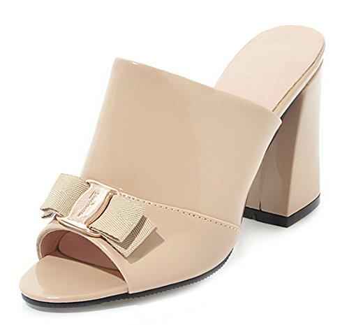 Aisun Women's Trendy High Block Heels Bow Mule Sandals Beige 1zu7Z