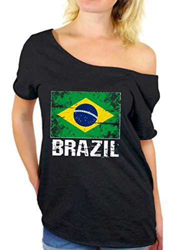 Awkward Styles Brazil Shirt Off Shoulder Brazil Flag Tshirt Brazil Gifts for Her Black 2XL