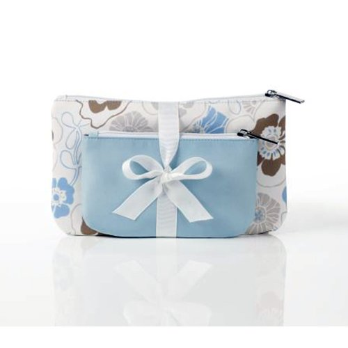 Ganz Tourmaline Blue and Vintage Rose Cosmetic Makeup Bag...