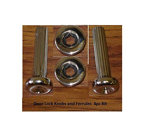 (Door Lock Knobs w/Ferrules Chrome Ribbed Fluted Stem Ribs Rebuild Kit for Chevrolet Buick Pontiac Quick Delivery)
