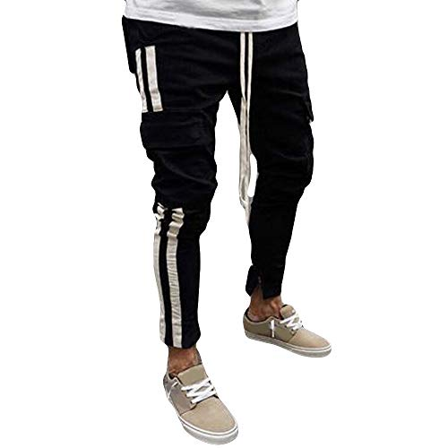 Men Cowboy Pants ♣ Male Multi Bags Men Drawstring Pants Young Boys Stripped Trousers Autumn Winter (US:28, Black)]()