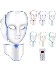 LED Photon Therapy Facial Mask with 7 Color Light Treatment,Face Beauty Skin Care Phototherapy Mask for Anti-Aging Skin Rejuvenation Face and Neck Care Treatment Beauty Whitening Device