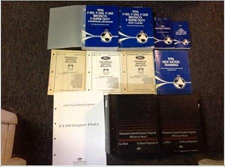 1996 ford f-150 250 350 bronco truck service shop repair manual set w pced  + ewd: ford: amazon com: books