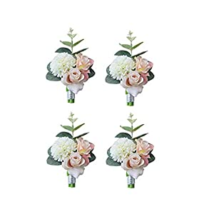Flonding Romantic Boutonniere Buttonholes Bridegroom Groom Groomsman Men's Boutonnieres Best Man Boutineer with Pin for Wedding Prom Homecoming Decoration Pack of 4 102