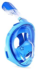 Octobermoon Original 180°Full view Panoramic Snorkel Mask-Full Face snorkeling Design.with anti-fog anti-leak Technology,See More water world Larger Viewing Area (XS Blue)