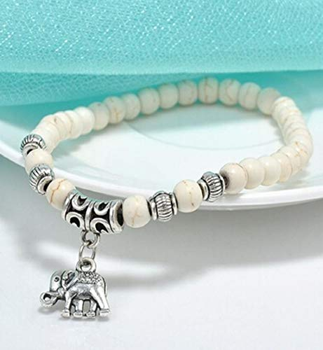 - Clearance Sale!DEESEE(TM)White Elephant Turquoise Beads Bracelet Tibet Pendant Elastic Bracelet