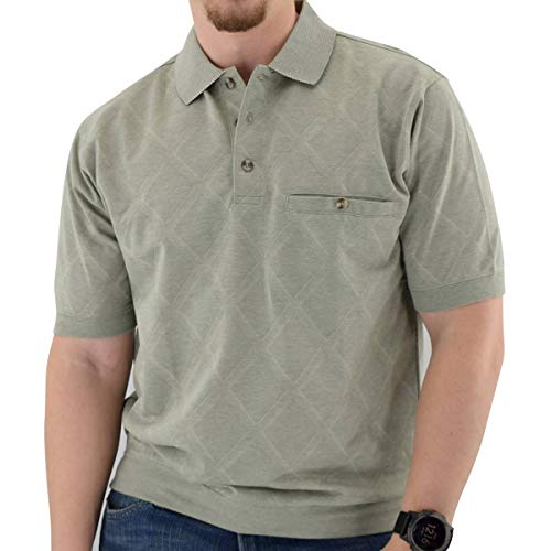- Short Sleeve 3 Button Banded Bottom Knit Collar Sage (XL, SAGE)