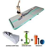 Starzcom Gymnastic Air Track Tumbling Mat, 5.0m x 1.0m x 0.1m Tumble Track Air Mat – Our Premium, Grippy, Bouncy Inflatable Gymnastics Air Mat with Air Pump. Fit for Adults and Kids - Mint