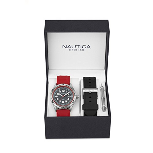 Nautica Men's 'NSR 105 BOX SET' Quartz Stainless Steel and Silicone Casual Watch, Color:Black (Model: NAD14004G)