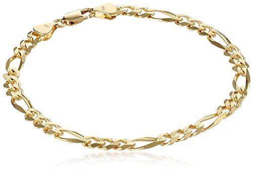 Mens-18k-Yellow-Gold-565mm-Italian-Figaro-Bracelet-8