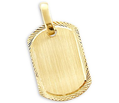 Sonia Jewels 14k Yellow Gold Name Plate Dog Tag Collar Charm Pendnat