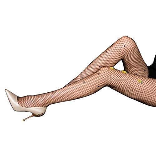 Sagton® Sexiga Kvinnor Broderi Pärla Fishnet Kroppsstrumpor Strumpbyxor Strumpbyxor Strumpor Svart A