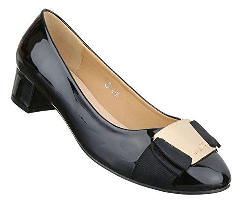 Damen Pumps Schuhe High-Heels Mules Pantoletten Sandaletten Mit Deko Besetzte Schwarz Beige Weiß 36 37 38 39 40 41 Schwarz