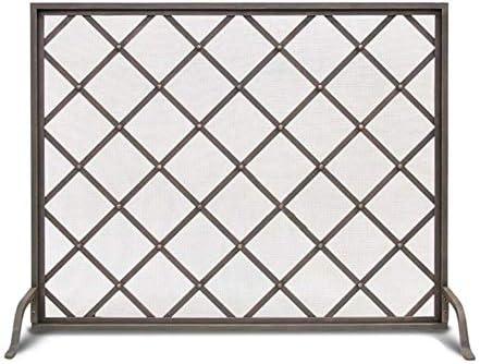 フラットガード暖炉スクリーン、メタルメッシュ付きソリッドロートアイアンフレーム、装飾幾何学デザイン、自立式スパークガード (Color : Black, Size : 100×26×80cm)