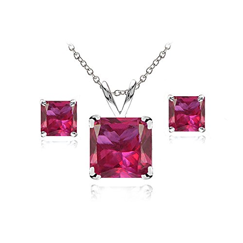 (Sterling Silver Created Ruby Square Solitaire Necklace and Stud Earrings Set)