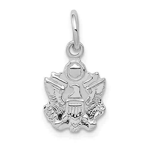 - 14k White Gold United States Army Military Eagle Insignia Charm 17x9mm