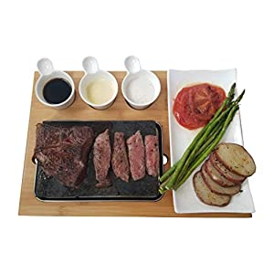 Cooking Stone Set by Blue Nest – Hibachi Grilling Steak Stone w Ceramic Side Dishes and Bamboo Platter