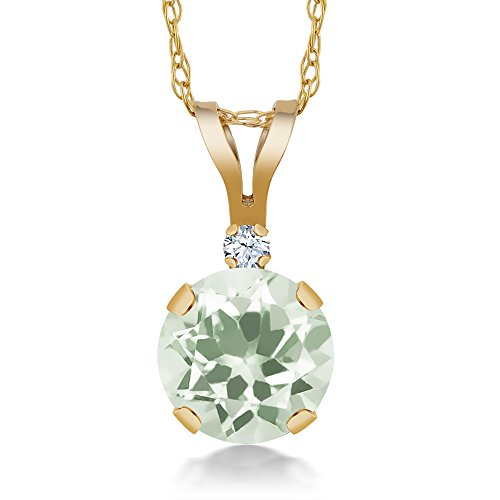0.97 Ct Round Green Amethyst White Created Sapphire 14K Yellow Gold Pendant (Green Necklace Sapphire & Amethyst)