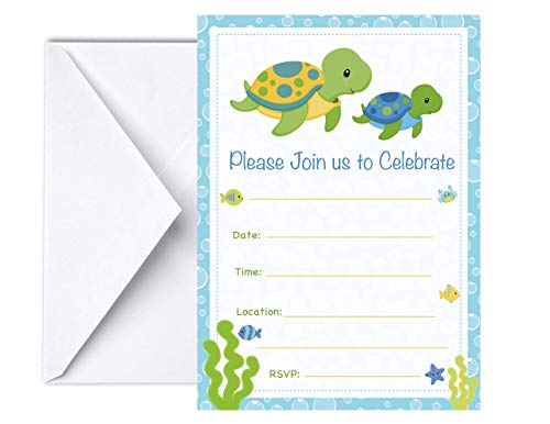 (Sea Turtle Invitations 12 PCS, 5x7 Sea Animals Invites for Birthday Party for Boys and Girls or Ocean Sea Neutral Themed Baby Shower Invites )