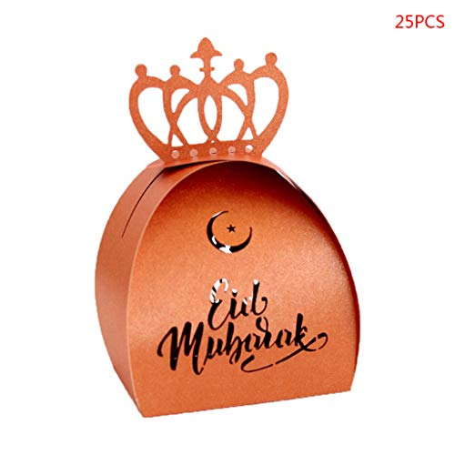Seaskyer 25pcs Laser Cut Hollow Candy Box DIY Wedding Party Favors Boxes Happy Eid Mubarak Ramadan Party Decoration (Bronze) ()
