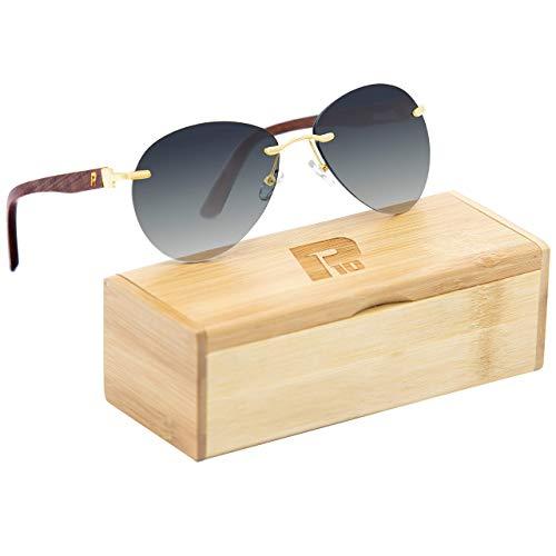 Wooden Polarized Gradient Frameless Driving Sunglasses For Men/Women (Black)