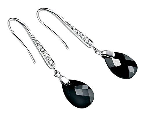 Elements Silver Womens Teardrop Hook Drop Earrings - Silver/Clear/Black