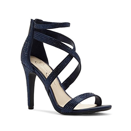 Jessica Simpson Women's Emilyn Heeled Sandal, Navy Satin, 8 Medium US (Jessica Blue Womens Sandal Simpson)