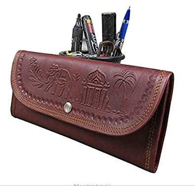 7a44816028c0 Best Deal Genuine Leather Wallets for Women Handmade Leather Envelope Clutch  - Trifold Women s Designer Purse Wallet  Amazon.in  Shoes   Handbags