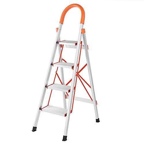 LUISLADDERS 4 Step Ladder Folding Step Stool Stepladders Aluminum Lightweight Multi Purpose Portable Folding Home Ladder 330lbs EN131 ()