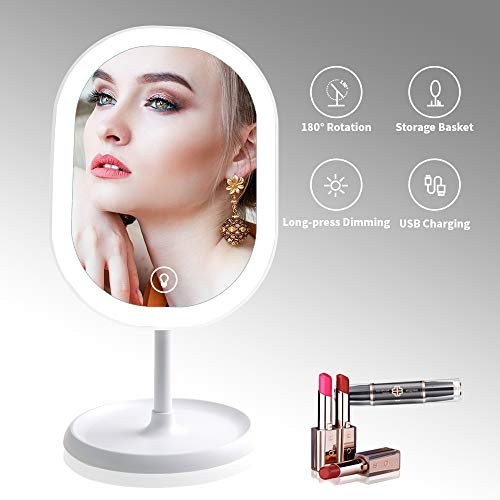 LED Lighted Makeup Mirror with Lights, [Rechargeable] Portable Vanity Mirror, Touch Screen Switch, 180 Degrees Free Rotation
