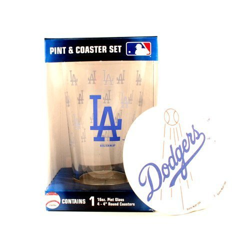 MLB Officially Licensed Los Angeles Dodgers Pint and Coaster (Los Angeles Dodgers Glass)