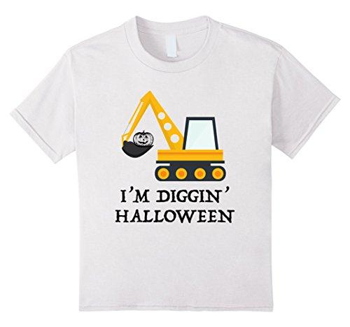 Kids Halloween Construction Pumpkin Worker Costume T-shirt Child 4 (Cute Construction Worker Costumes)