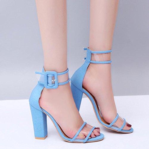 Colore sandali donna solido tacco fibbia moda Blu scarpe alto caviglia artificiale pelle Longra dpqv4dxw