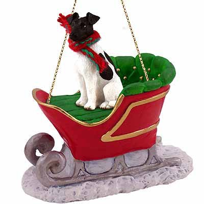 (Conversation Concepts Smooth Fox Terrier Sleigh Ride Christmas Ornament Black-White -)