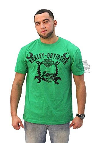 Harley-Davidson Mens Skull with Cross Wrenches Green Short Sleeve T-Shirt - LG