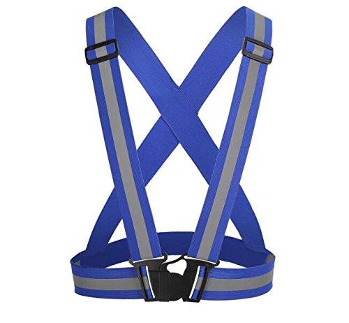 AURORA RACING Reflective Vest High Visibility Safety Adjustable Belt Regular SizeFor Adults Kids (Kids, Blue)