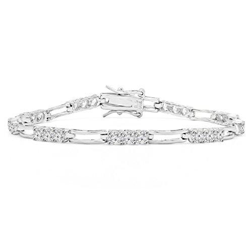 13/4Outlet-Oxyde de zirconium coupe ronde CZ Fashion Bracelet de Tennis en Argent Sterling en argent sterling-17,8cm