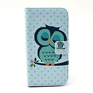 PEACH- Cute Owl on The Tree Pattern PU Leather Full Body Case for Samsung S4 I9500