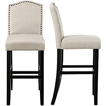 Amazon Com Baxton Studio Aries Modern Bar Stool With Nail