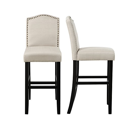 LSSBOUGHT Nailhead Barstools with Solid Wood Legs, Set of 2 ()