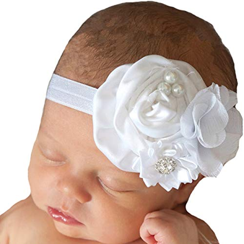 Miugle Baby White Headbands,Baby Girl Flower Headbands,Newborn Headbands,Baby Bows (Satin Flower Headband)