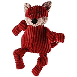 HuggleHounds Plush Corduroy Durable Squeaky Knottie, Dog Toy, Great Dog Toys for Aggressive Chewers, Fox, Large