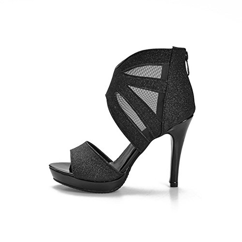 AgooLar Spikes Damen Zipper Solid Toe Schwarz Open Sandalen Stilettos Htrntx