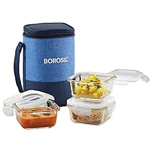 Borosil Lunch Box Set of 3, 320 ml, Square, Microwave Safe Office Tiffin