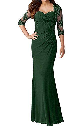 4 Dunkelgruen Spitze 3 Damen Festkleid Abendkleider Lang Elegant Promkleid Ivydressing Arm Partykleid AqtfW7