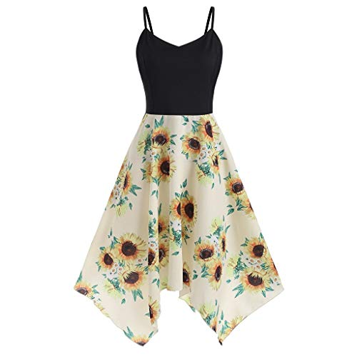 Kulywon Plus Size Fashion Womens Sunflower Print Asymmetric Camis Handkerchief Dress Yellow ()