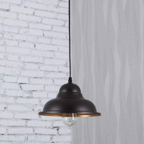 MICSIU Pendant Light Industrial Hanging 1-Light Fixture Vintage Lamp Oil Rubbed Bronze Metal Shade