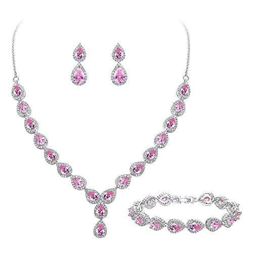 BriLove Wedding Bridal CZ Necklace Bracelet Earrings Jewelry Set for Women Teardrop Infinity Figure 8 Y-Necklace Tennis Bracelet Dangle Earrings Set Pink Tourmaline Color Silver-Tone October Birthstone