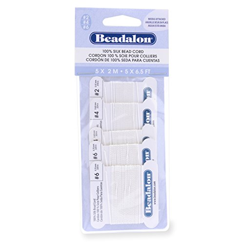 Beadalon 106A-120 Silk Thread, Variety Pack, Sizes 1x02, 2x04, 2X06, 2 Meters Each with Needle, White