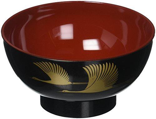 Japan Rice Bowl (Happy Sales HSY55/BC Japanese Lacquer Crane Design Rice Soup Bowl, Black)